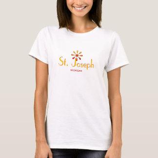 St. Joseph, Michigan - with Orange Sunflower T-Shirt