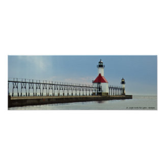 St. Joseph North Pier Lights, Michigan Poster