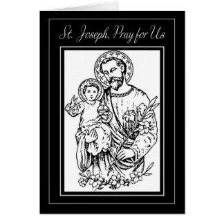 St. Joseph Pray for Us Black White Illustration Card