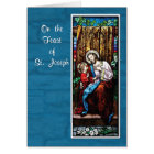 St. Joseph's Day with Jesus, on Blue Card