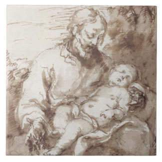 St. Joseph with the Sleeping Christ Child (pen & b Tile