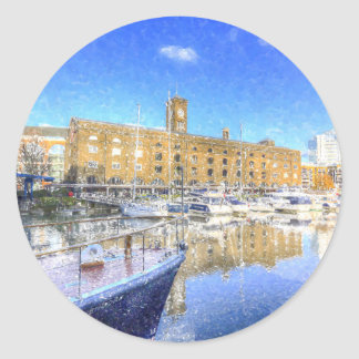 St Katherines Dock London Snow Classic Round Sticker