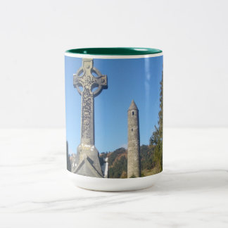 St Kevin's Cross and Round Tower Glendalough Two-Tone Coffee Mug