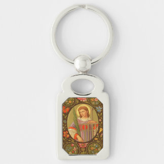 St. Lawrence of Rome (PM 04) Silver-Colored Rectangle Keychain