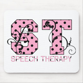 st letters pink and black polka dots mouse pad