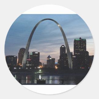 St Louis Arch Skyline Classic Round Sticker