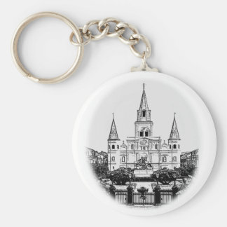 St. Louis Cathedral Jackson Square Sketch Keychain