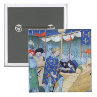 St. Louis embarking for the Crusades 2 Inch Square Button