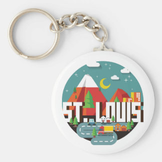 St. Louis, Missouri Geometric Design Basic Round Button Keychain