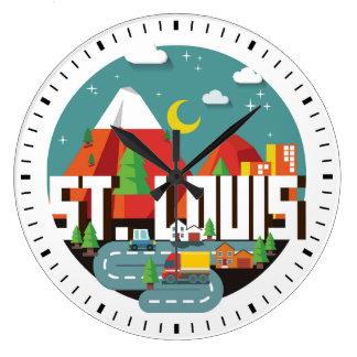 St. Louis, Missouri Geometric Design Large Clock