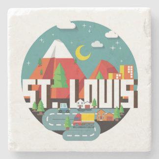 St. Louis, Missouri Geometric Design Stone Coaster