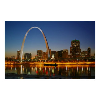 St. Louis Missouri on the Mississippi by Night Poster