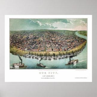 St. Louis, MO Panoramic Map - 1859 Poster