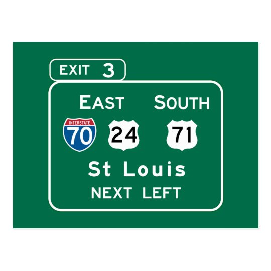St. Louis, MO Road Sign Postcard