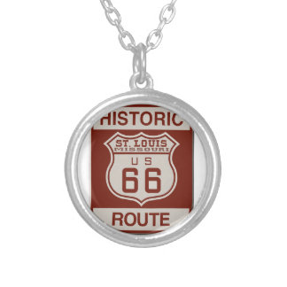 St Louis Route 66 Silver Plated Necklace