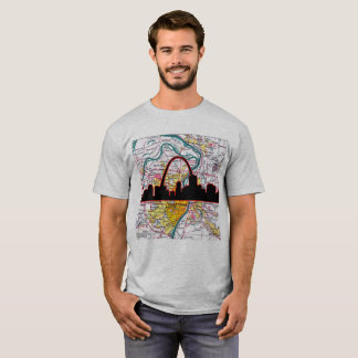 St Louis Skyline and Arch with City Map T-Shirt
