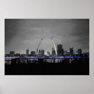 St. Louis Skyline Art B/W w/selective color poster