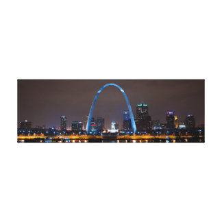 St Louis Skyline at Night Photo on narrow canvas