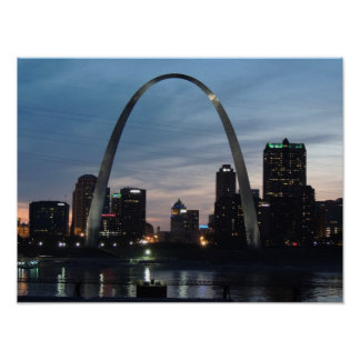 St Louis Skyline At Night Poster