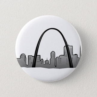 St Louis Skyline Drawing 2 Inch Round Button