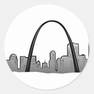 St Louis Skyline Drawing Classic Round Sticker