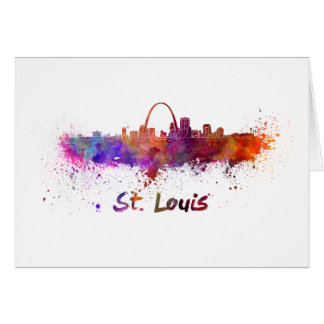 St Louis skyline in watercolor Card