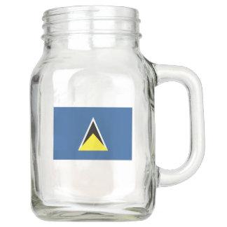 St. Lucia Flag Mason Jar