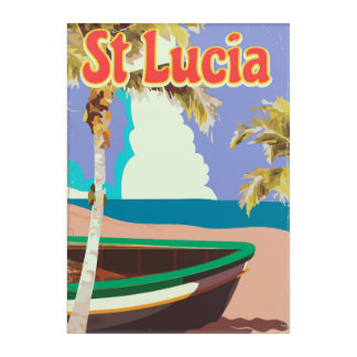 St Lucia vintage beach travel poster Acrylic Wall Art