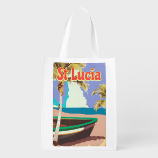 St Lucia vintage beach travel poster Reusable Grocery Bag
