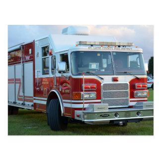 st lucie county firetruck front end fire truck postcard