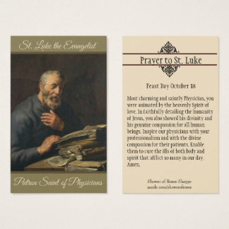 St. Luke Evangelist Patron of Physicians Holy Card