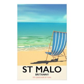 St Malo, Britanny Beach poster Stationery Design