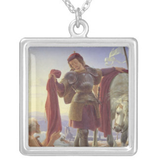 St. Martin and the Beggar, 1836 Silver Plated Necklace