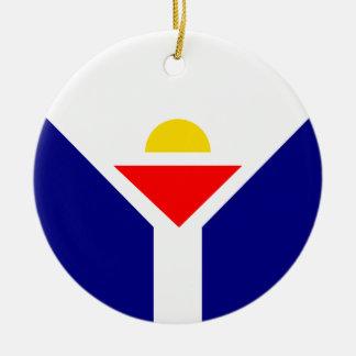 St. Martin Flag Round Ceramic Ornament