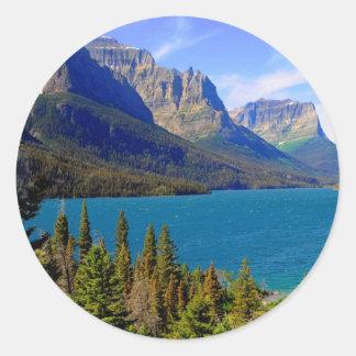 St. Mary Lake,  Glacier National Park,  Montana Round Sticker
