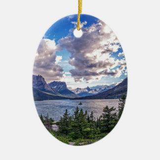 St. Mary Lake Sunset Ceramic Ornament
