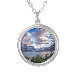 St. Mary Lake Sunset Silver Plated Necklace