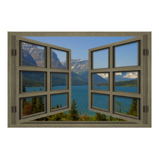 St. Mary Lake Through An Open Window Poster