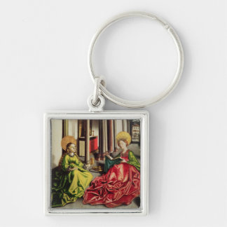 St. Mary Magdalene and St. Catherine of Alexandria Silver-Colored Square Keychain