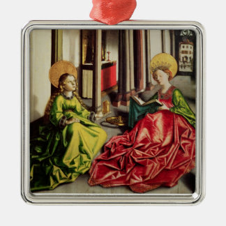 St. Mary Magdalene and St. Catherine of Alexandria Silver-Colored Square Ornament