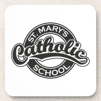 St. Mary's Catholic School Blue on Red Beverage Coasters