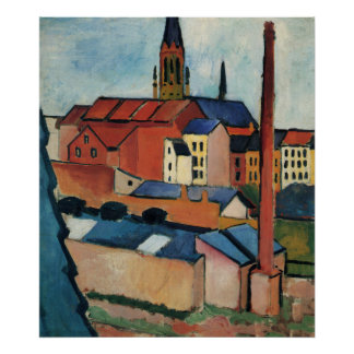 St. Marys with Houses and chimney by August Macke Poster