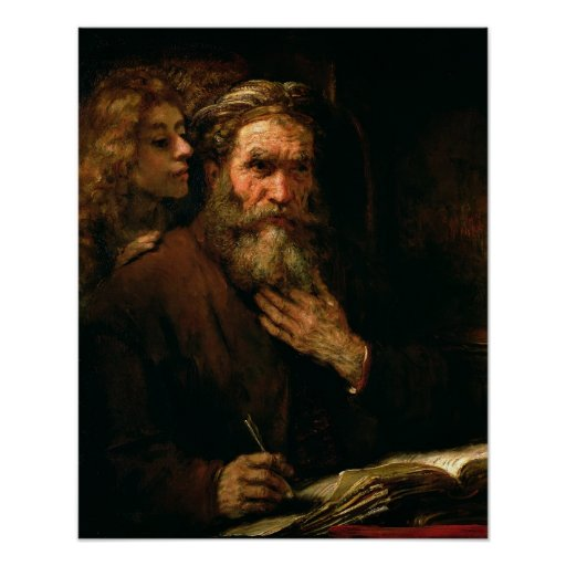 St. Matthew and The Angel, 1655-60 (oil on canvas) Posters