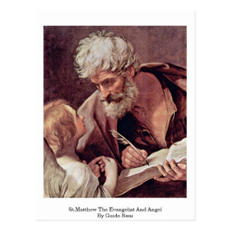 St.Matthew The Evangelist And Angel By Guido Reni Postcard