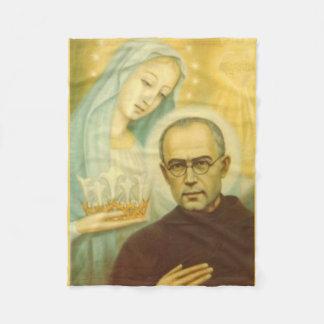 St. Maximillian Kolbe with Virgin Mary & Crown Fleece Blanket