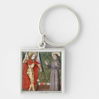 St. Michael and St. Francis of Assisi, c.1480 Silver-Colored Square Keychain