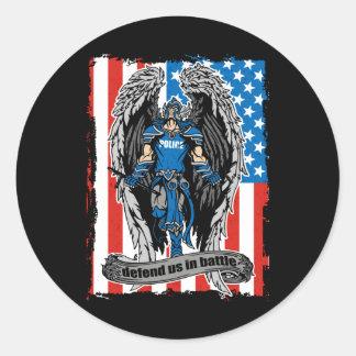 St. Michael Angel Defend Us in Battle Round Sticker