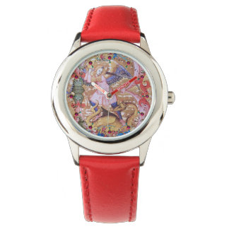 St. Michael Archangel And Dragon Antique Floral Watch