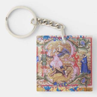 St. Michael Archangel and Dragon Prayer Parchment Keychain