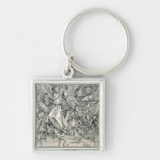 St. Michael Battling with the Dragon Silver-Colored Square Keychain